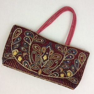 Red Heavily Beaded Embellished Sequined Tote Bag